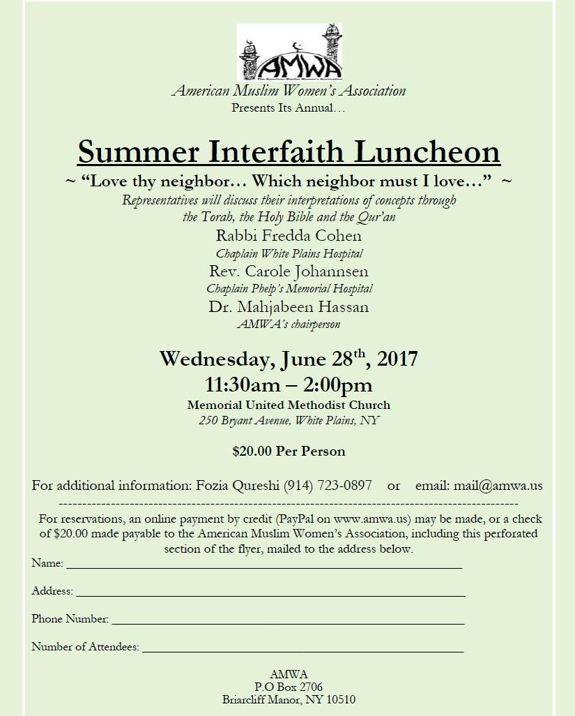 AMWA Summer Interfaith Luncheon 2017
