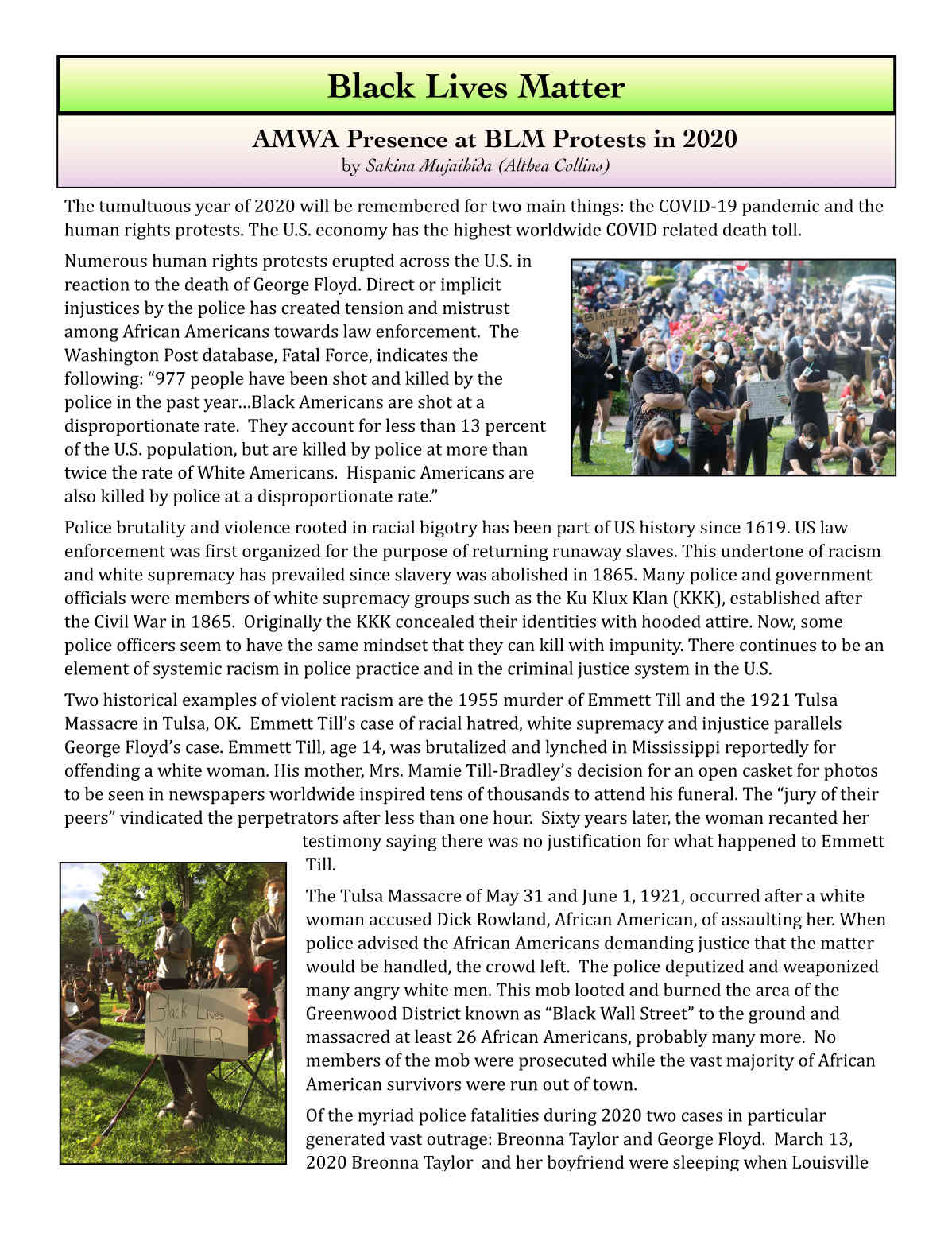AMWA's Newsletter 2021